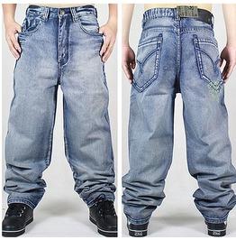 Men's Hip Hop Graffiti Print Baggy Jeans Denim Pants J12