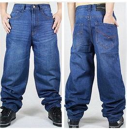 Men's Hip Hop Graffiti Print Baggy Jeans Denim Pants J14