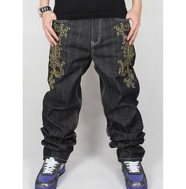 Men's Hip Hop Graffiti Print Baggy Jeans Denim Pants J16
