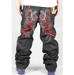 Men's Hip Hop Graffiti Print Baggy Jeans Denim Pants J19