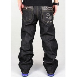 Men's Hip Hop Graffiti Print Baggy Jeans Denim Pants J20