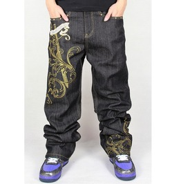 Men's Hip Hop Graffiti Print Baggy Jeans Denim Pants J22