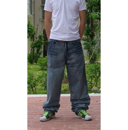 Men's Hip Hop Graffiti Print Baggy Jeans Denim Pants J23