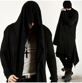 Avant Garde Unbeatable Style Force Hooded Diabolic Drape Long Cardigan 34