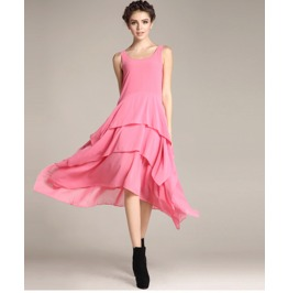 Sleeveless Boat Neck Ruffle Maxi Dress V1