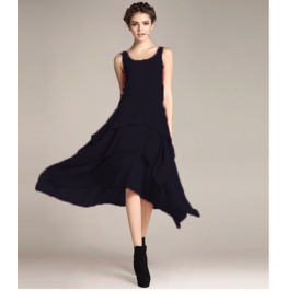 Sleeveless Boat Neck Ruffle Maxi Dress V4