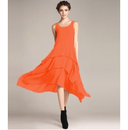 Sleeveless Boat Neck Ruffle Maxi Dress V6