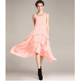 Sleeveless Boat Neck Ruffle Maxi Dress V7