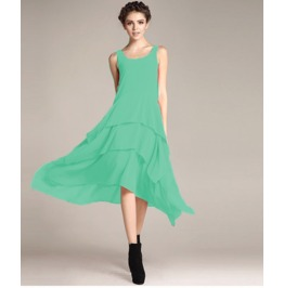 Sleeveless Boat Neck Ruffle Maxi Dress V8