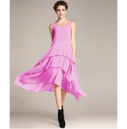 Sleeveless Boat Neck Ruffle Maxi Dress V9