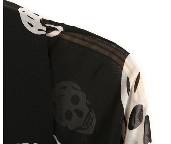 White Chiffon Skull Blouse 58