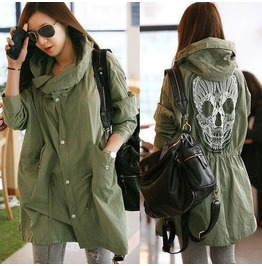 Punk Skull Print Women Winter Hooded Coat Outwear Parka Long Loose Jacket Trench Green Color