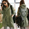 Punk skull print women winter hooded coat outwear parka long loose jacket trench green color coats 5