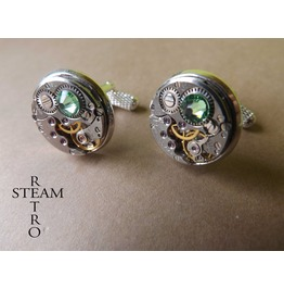 10% Code:Xmas14 Steampunk Peridot Green Cufflinks Steamretro Men Jewelry Steamretro, Men Cufflinks