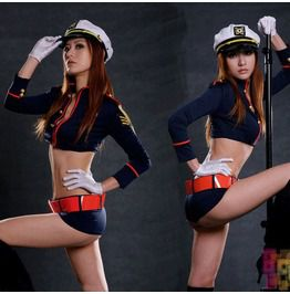 Long Sleeve Cropped Tops Short Pant Sexy Nightclub Police Uniforms Costume