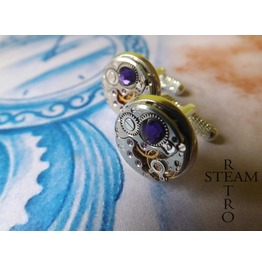 10% Code:Xmas14 Steampunk Purple Velvet Cufflinks Steamretro Men Jewelry Steamretro, Men Cufflinks