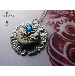 10% Code:Xmas14 Steampunk Necklace House York Steampunk Rose Necklace Blue Steampunk Jewelry Bt Steamretro
