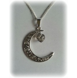 Crescent Moon Necklace Faceted Heart