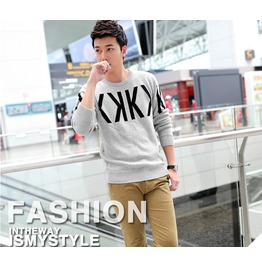 Fashion Round Collar Men Knit Sweater