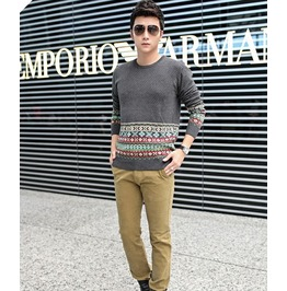 Fashion Round Collar Men Knit Sweater 1437b