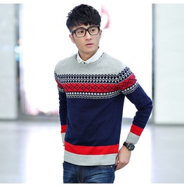 Fashion Round Collar Men Knit Sweater 1438