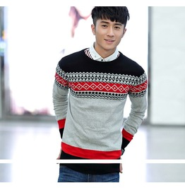 Fashion Round Collar Men Knit Sweater 1438a