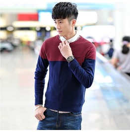 Fashion Round Collar Men Knit Sweater 1440