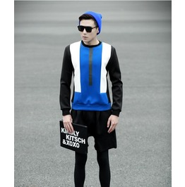 Black Blue Striped Fashion Men Sweatshirt