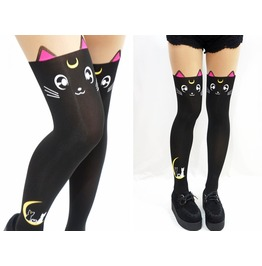 Luna Cats Sailor Moon Tail Lolita Tights Black