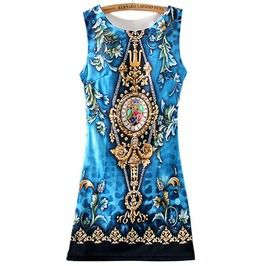 Ethnic Women Sleeveless Dress Totem Graphic