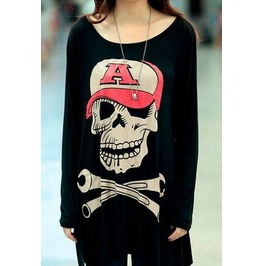 Skull Printed Long Sleeve Embroidered T Shirt