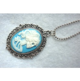Dead Lady Necklace White Blue Color Skull Skeleton Halloween