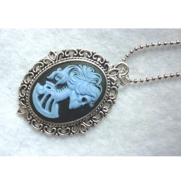 Dead Lady Necklace Blue Black Color Skull Skeleton Halloween