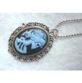 Dead Lady Necklace Blue Black Color Skull Skeleton Halloween