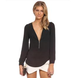 Regular size black v neck long sleeve solid casual blouse blouses 6