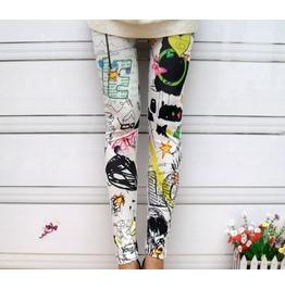 Paint Garden Printed Satin Gothic Leggings