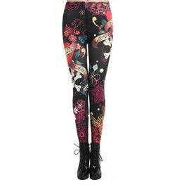 Black Floral Pirate Skull/Heart Tattoo Printed Skinny Punk Leggings