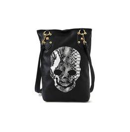 Black/White Skull Designed Open Pocket Casual Pu Shoulder Bag