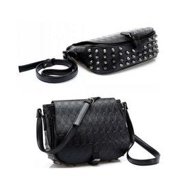 Skull Designed Black Pu Messenger Bag