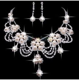 Set of Crystal Pearl Rhinestone Necklace Earring for Wedding