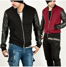 Striking Leather Sleeve Contrast Ponte Baseball Jacket 94