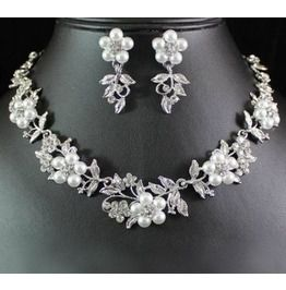 Faux Pearl Rhinestone Crystal Necklace Earrings Set for Wedding