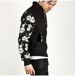 Stylish White Rose Pattern Printed Sleeve Contrast Jersey Jacket 95