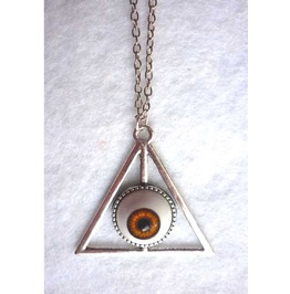 Nec Deum, Nec Dominum Brown Eye Long Necklace Esoteric Evil Witch Pyramid