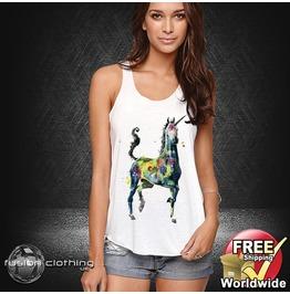 Fc0306 Ladies Girls Womans Vest Painted Unicorn White Cotton Summer Tank Top Fashion