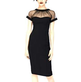 Mesmerising! Black Fish Net Glamous Pencil Shaped Dress Size Uk 14