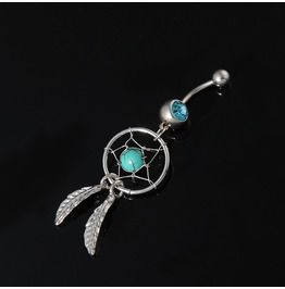 COOL Dream Catcher Turquoise Blue Crystal Belly Bar 316L Surgical Steel