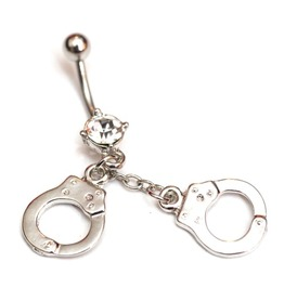 Naughty Surgical Steel Body Naval Piercing Diamante Handcuff Design