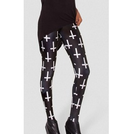 Black/White Cross Sign Printed Leggings
