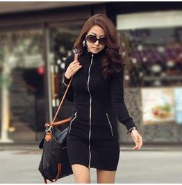 Regular/Plus Size Zip Up Black Long Sleeve Mini Dress